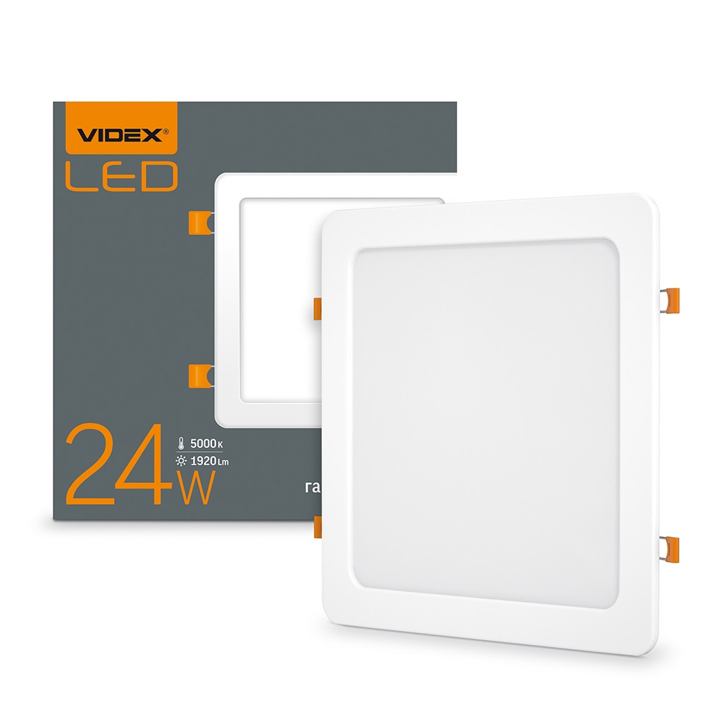 LED светильник встраиваемый квадрат VIDEX 24W 5000K 220V (VL-DLS-245)