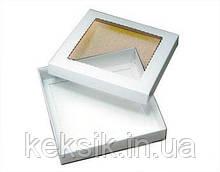 Коробка для пряников крышка с окошком 21*21*3 см белая