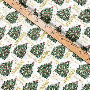"""Польская хлопковая ткань """"Рождественские елки с золотыми звездочками"""", фото 2"""
