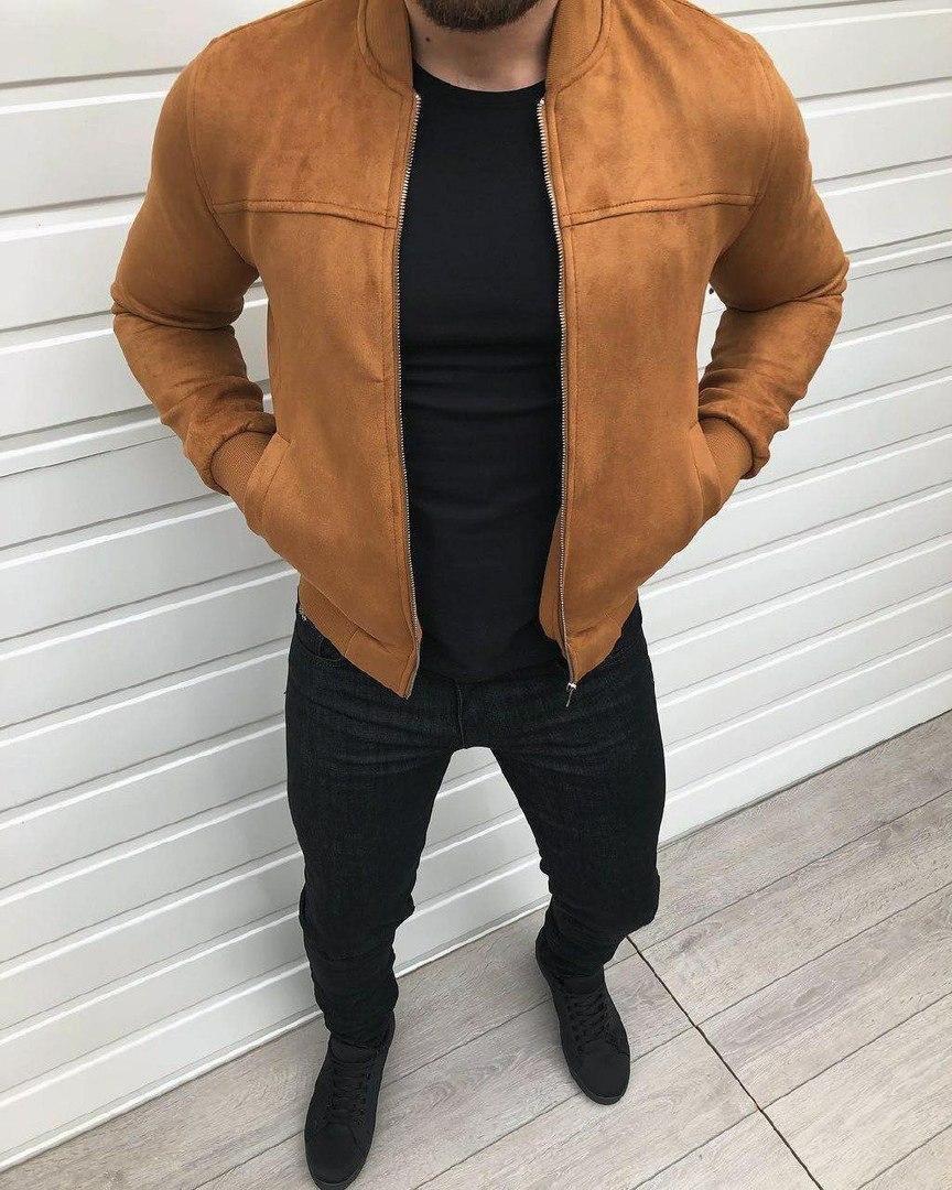 Мужская весенняя замшевая куртка бомбер