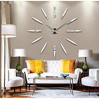 """Часы настенные 3D """"DIY"""" от 60 до 120 см цвет серебро (ZH012-S)"""
