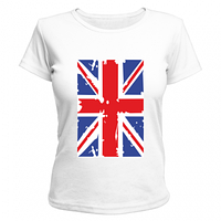 Футболка женская, принт Британский флаг, яркая, модная, стильная