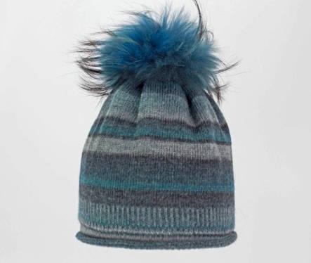 Жіноча красива оригінальна в'язана шапка зі стильним хутряним бумбоном., фото 2