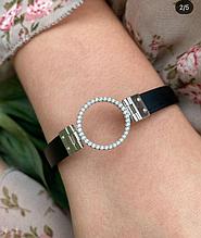 Стильный каучуковый браслет с серебром и цирконом Круг