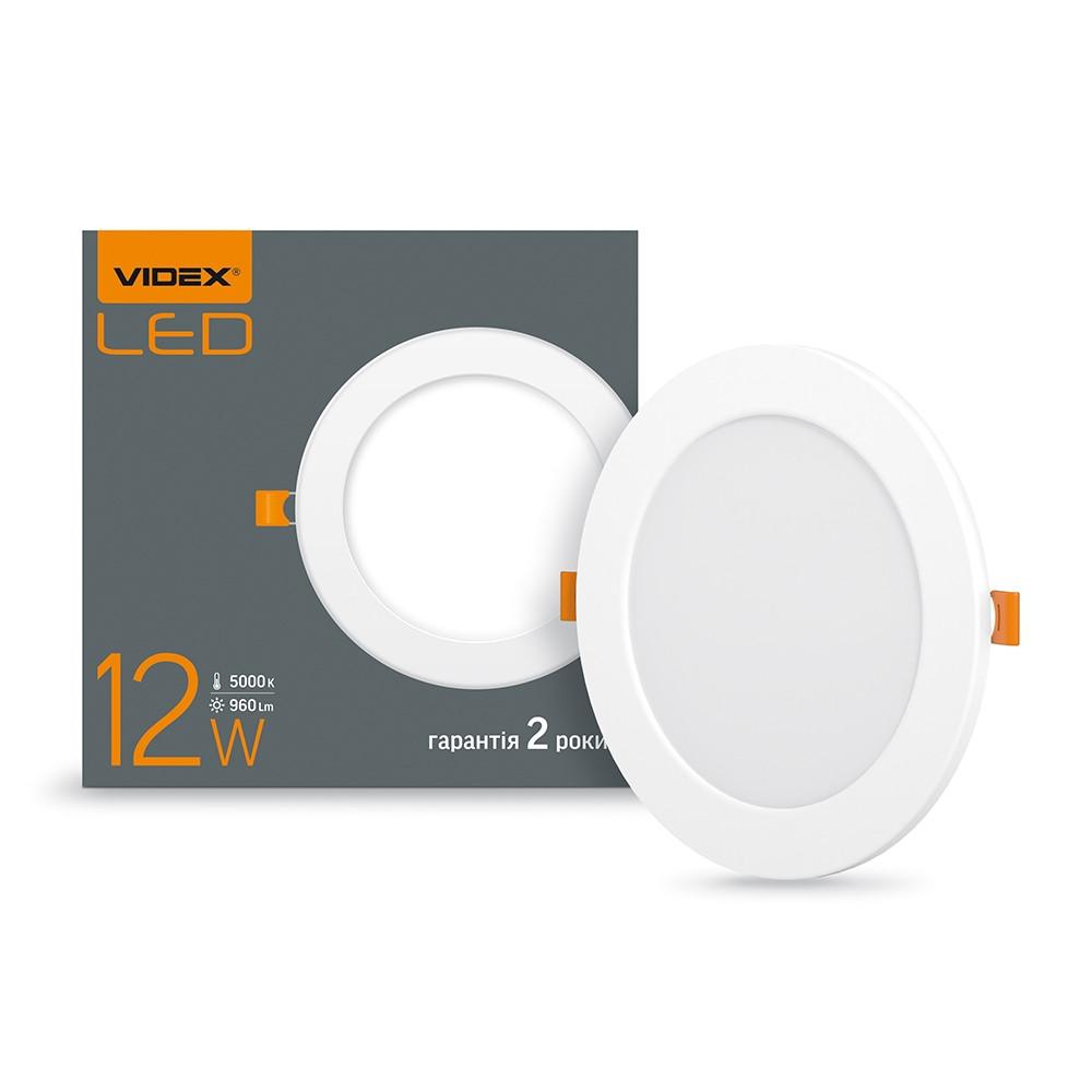 LED светильник встраиваемый круглый VIDEX 12W 5000K 220V (VL-DLR-125)