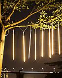 Гирлянда штора палочки 8штук по 50см, 3м х 0,5м, Теплый белый цвет, фото 2