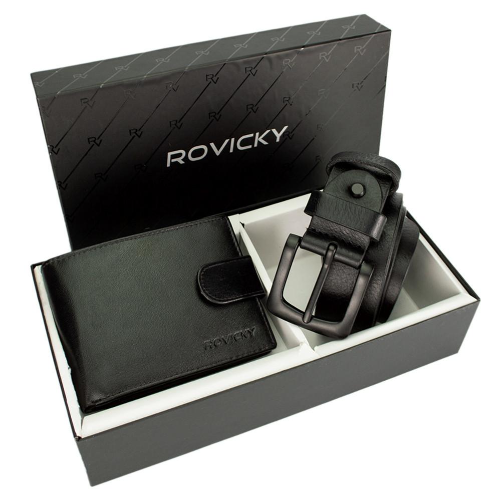 Подарочный мужской набор (ремень и портмоне) Rovicky R-N992L-110-G/5928