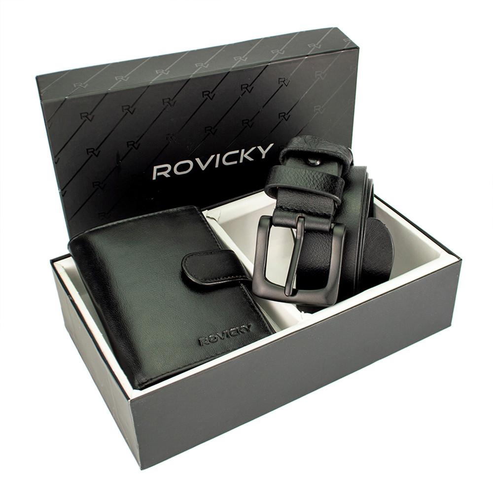 Подарочный мужской набор (ремень и кошелек) Rovicky R-N4L-110-G/5904