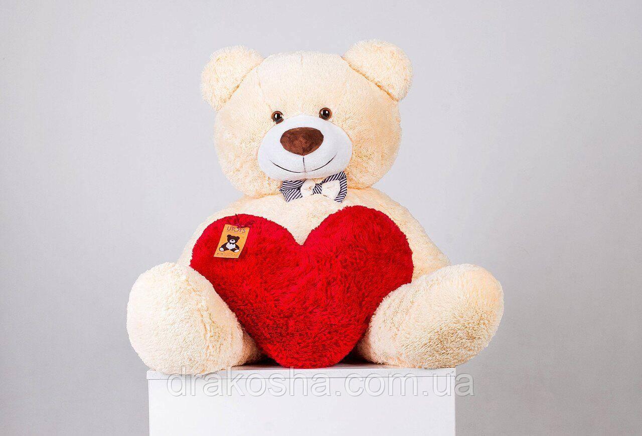 Мягкий плюшевый мишка с сердцем 135 см Персиковый, мягкий медведь Бенжамин Yarokuz на подарок