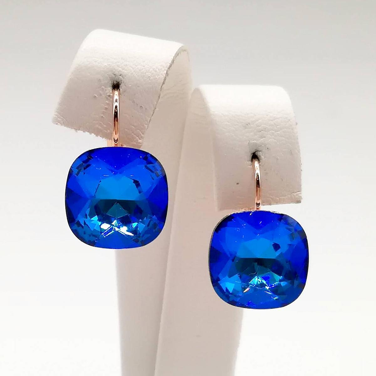 Серьги SONATA из медицинского золота, кристаллы Swarovski насыщенно-синего цвета, позолота PO, 24750