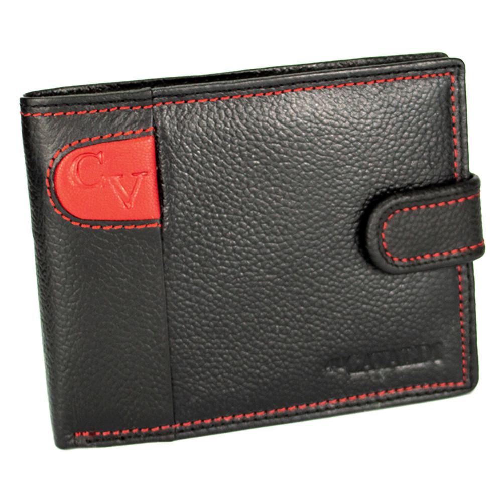 Портмоне чоловіче шкіряне на кнопці 4U Cavaldi N992L-SCV чорний з червоним