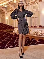 Жіноча коктейльне плаття з шовку красиве нарядне вечірнє плаття з запахом колір шоколаду