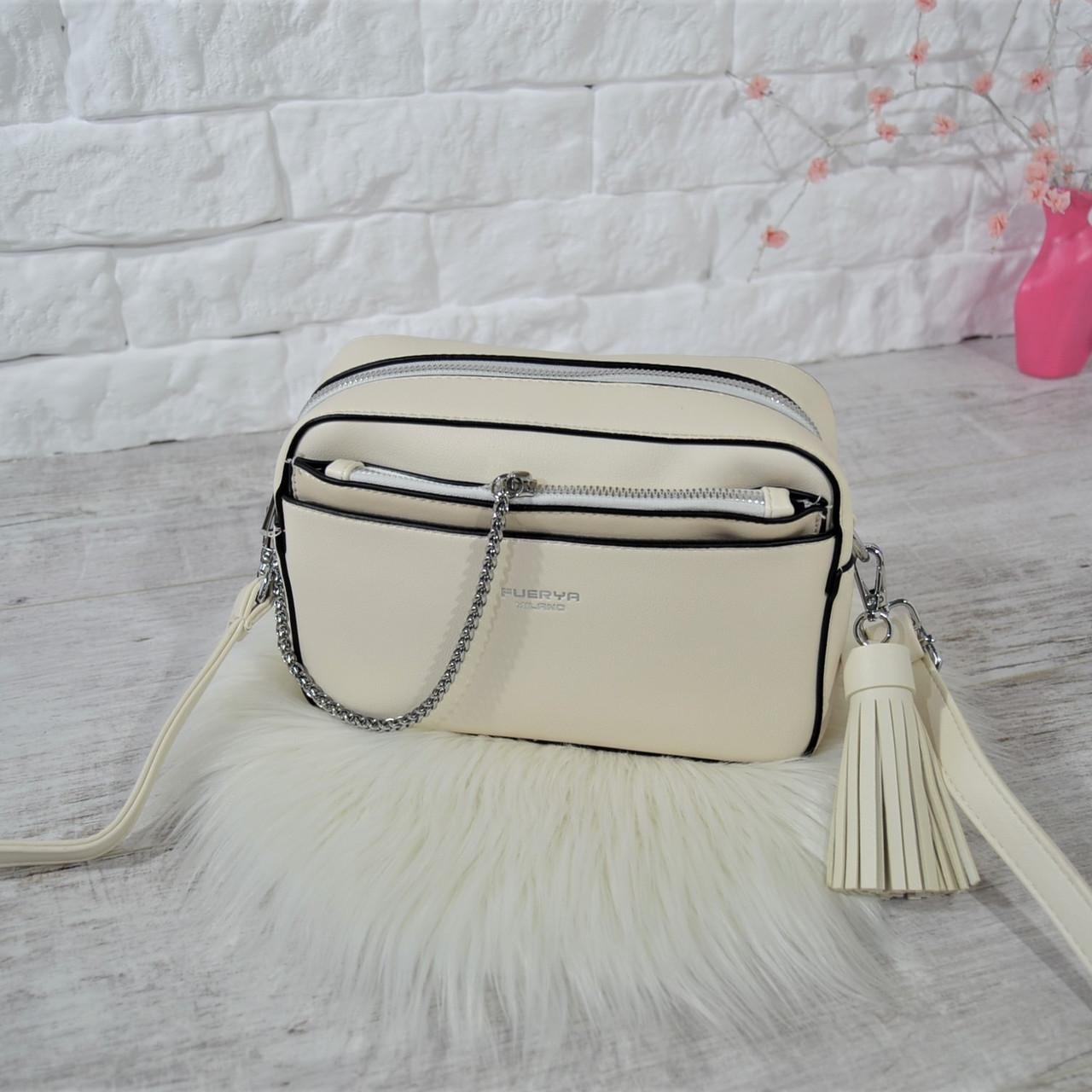 Сумочка кросс-боди Fuerya Milano с цепочкой и кисточкой бежевая женская Женская сумка Сумка для девушки