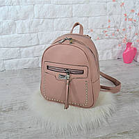 Рюкзак City на две молнии с заклепками пудровый женский Женский рюкзак Женский рюкзачок Сумка-рюкзак женская