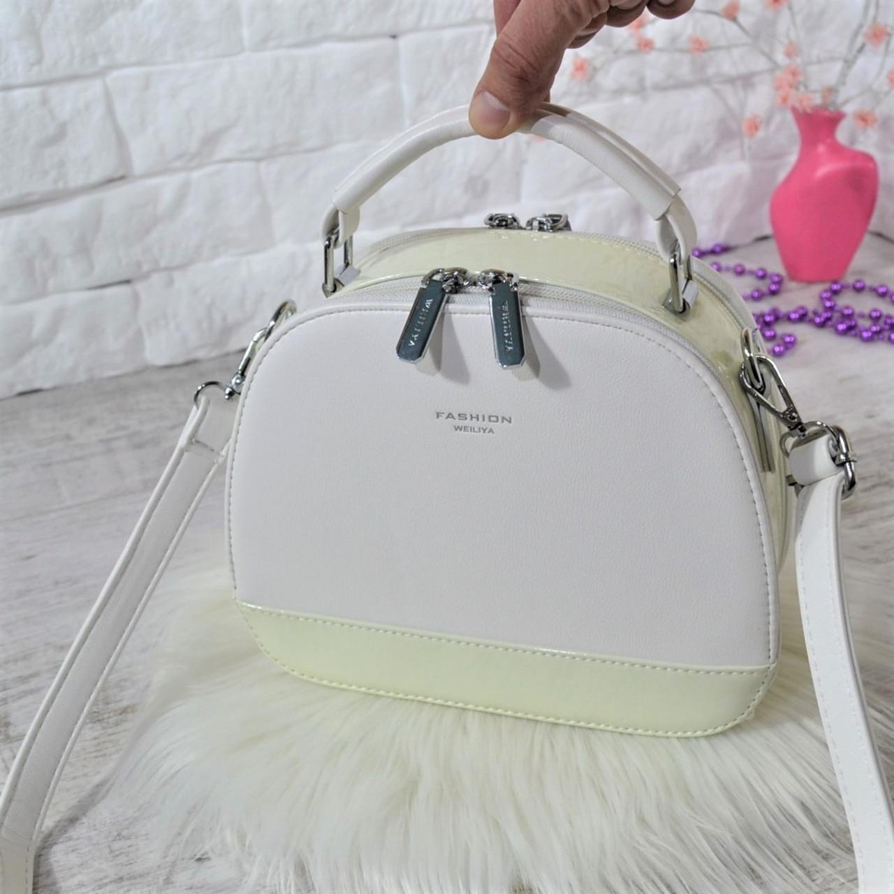 Сумка Weiliya Fashion с лаковой вставкой белая женская Женская сумка Сумка для девушки Модная женская сумка