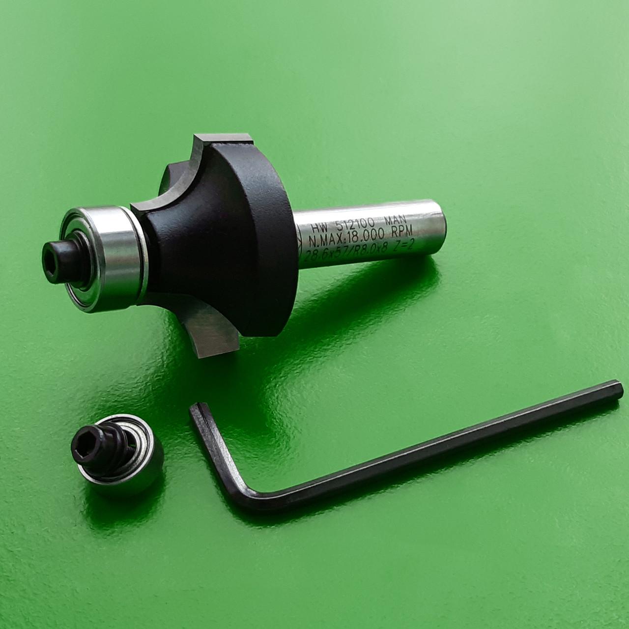38,1х19х60х8, z=2, R=12,7 Радиусная кромочная фреза Stehle с опорным подшипником для ручного фрезера