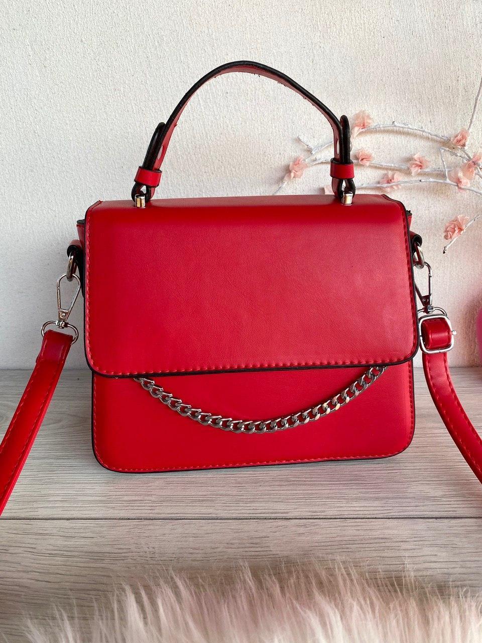 Сумочка Fuerya с декоративной цепочкой и надписью в стиле Селин красная женская сумка Сумка для девушки