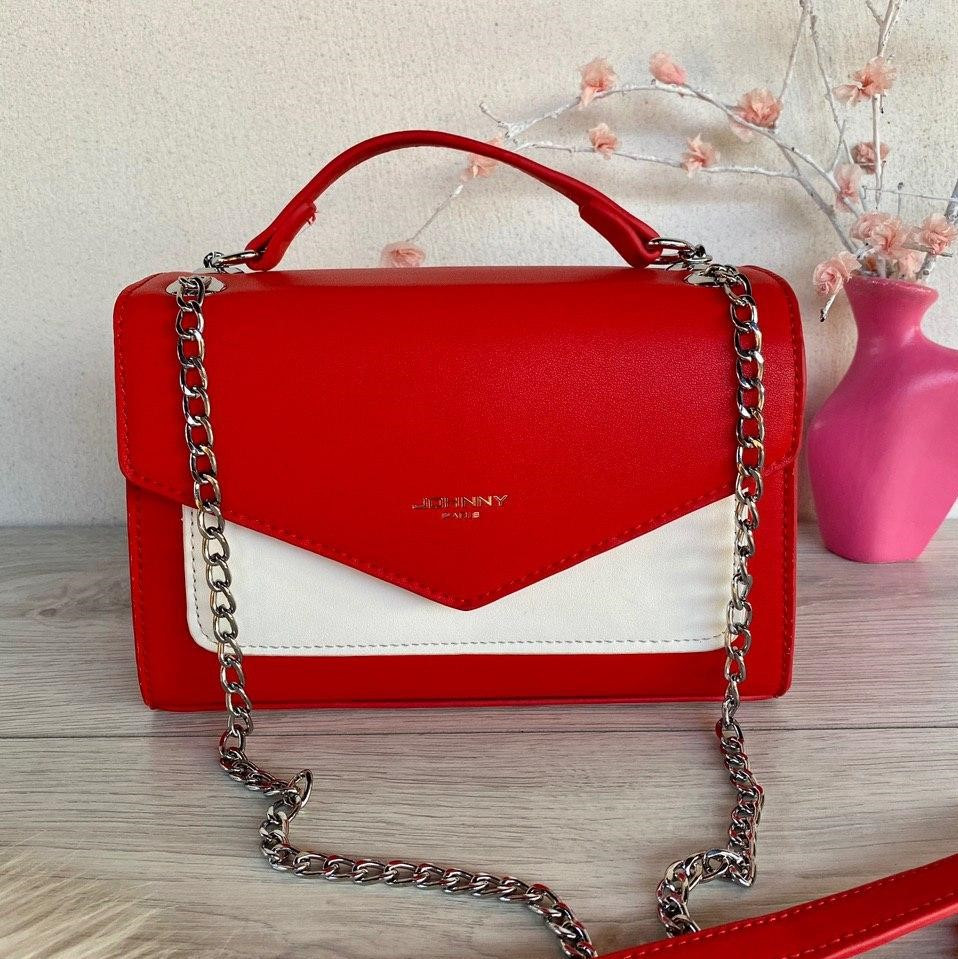 Сумочка-клатч на цепочках красная с белым женская Сумочка клатч Клатч женский модный Женская сумка клатч