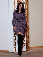 Женское коктейльное платье из шелка красивое нарядное вечернее платье с запахом цвет черника