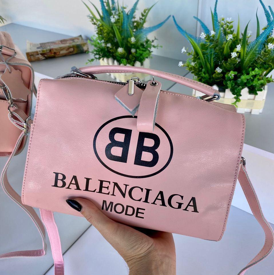 Сумка Balenciaga Nice с длинным ремешком из натуральной кожи пудровая женская