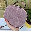 Сумочка кругляш Shine с длинным ремешком-цепочкой через плечо пудра женская сумка Сумка для девушки, фото 2