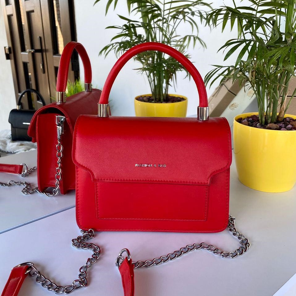 Женская сумочка Чарльз и Кейт на цепочках с высокой ручкой Красная женская сумка Сумка для девушки