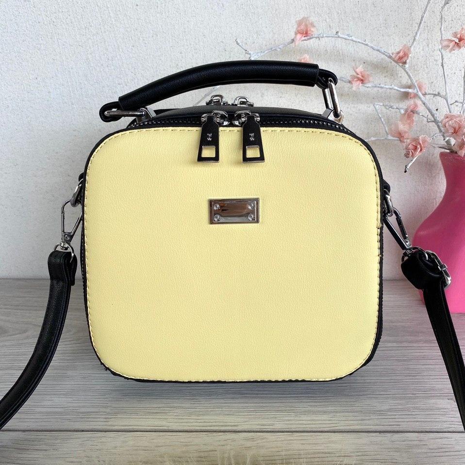 Сумочка Лилу с длинным ремешком через плечо желтая с черной вставкой женская Женская сумка Сумка для девушки