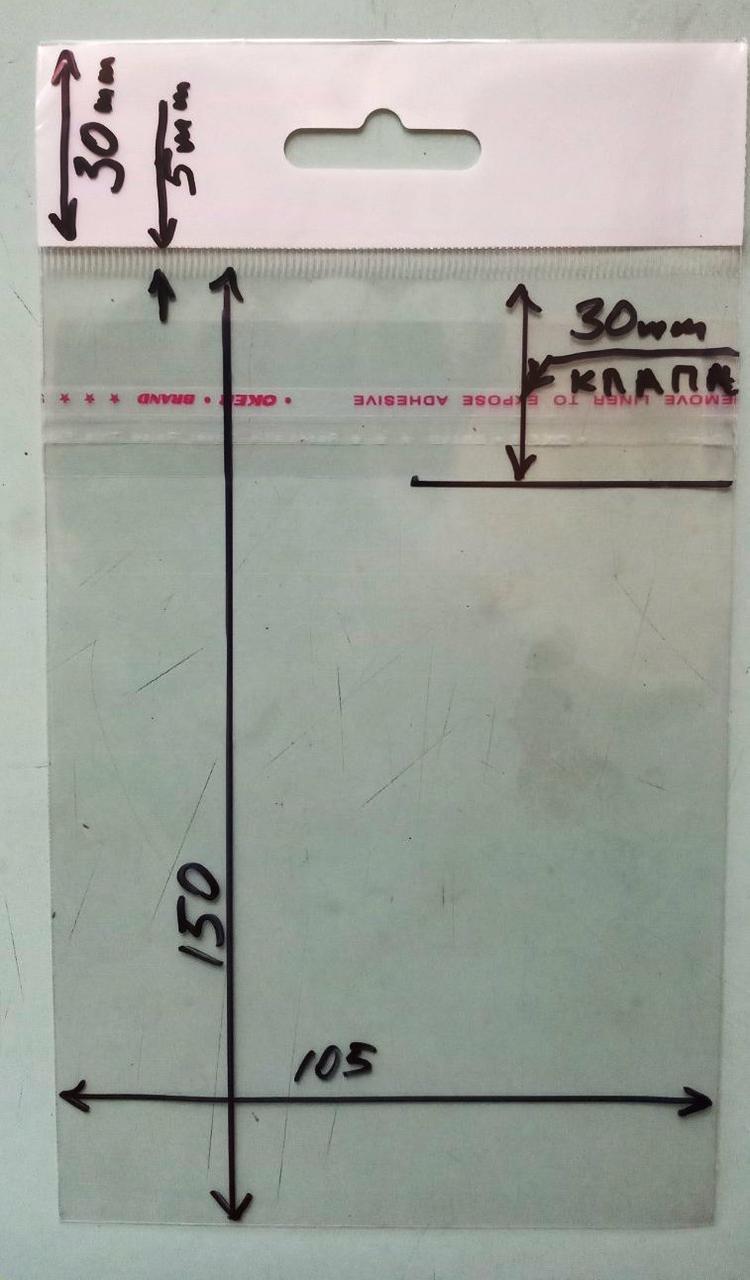 150*105 - 1 упак (100 шт) пакет с европодвесом и клл сверху