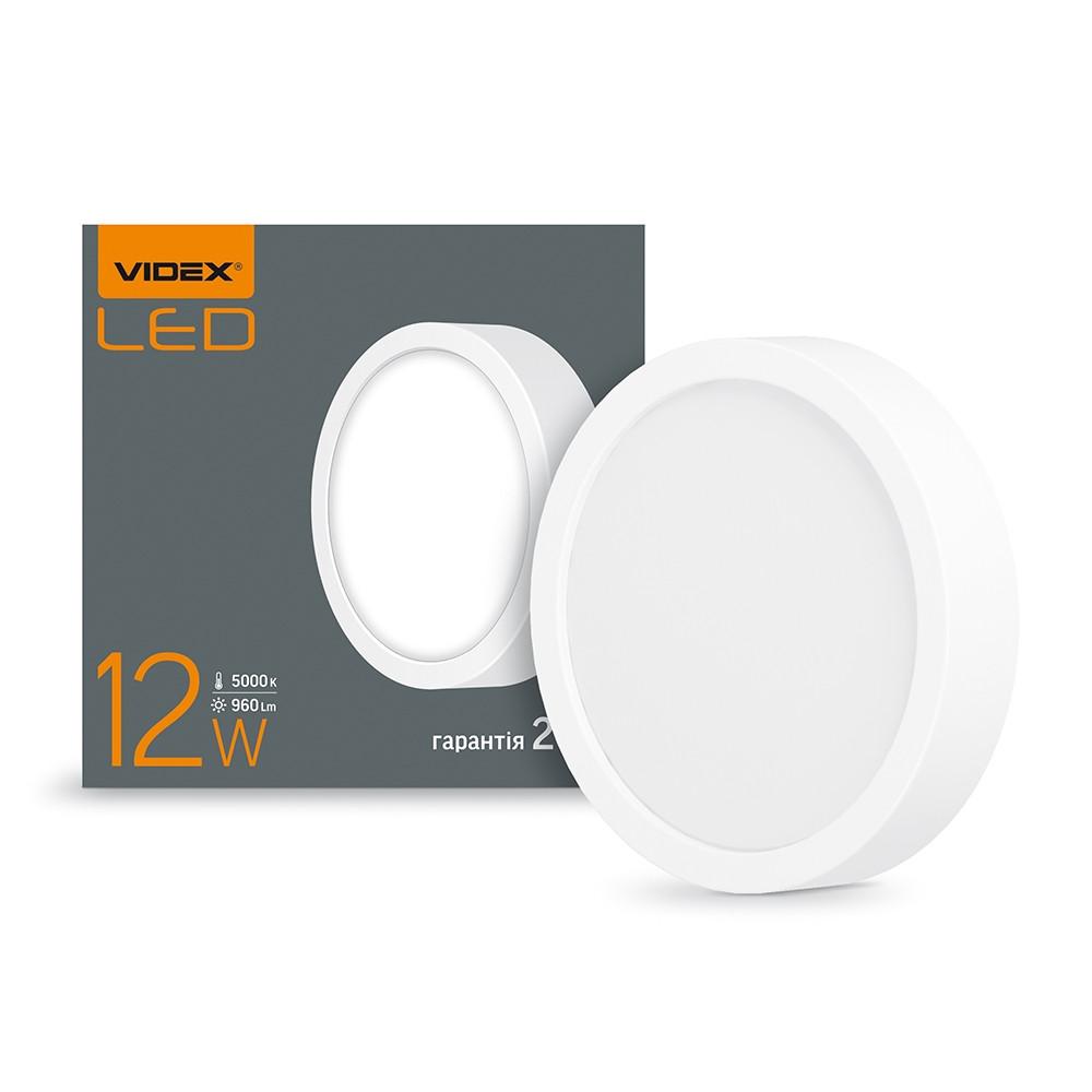 LED Светильник круглый накладной VIDEX 12W 5000K 220V (VL-DLRS-125)