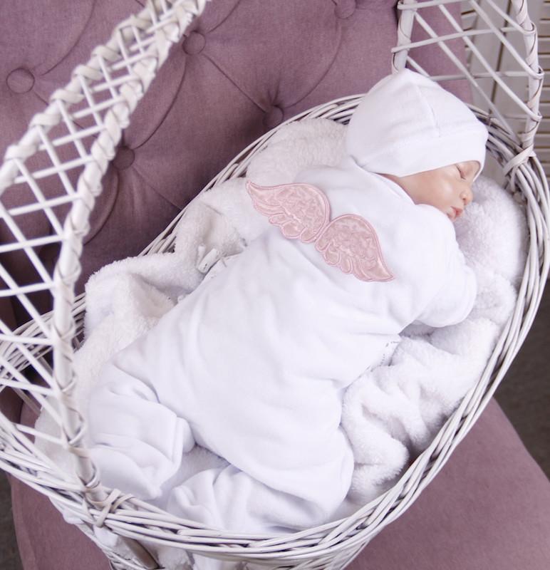 Детский комбинезон слип Angel белый с (розовыми крылышками)