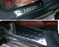 Fiat Doblo II 2005↗ гг. Накладки на внутренние пороги (Omsa, нерж.) 3 двери, фото 1