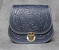 Кожаная синяя женская сумка с авторским орнаментом, фото 1
