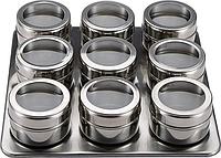 BGMP-6101 bergner Набор для специй 10 пр. из нержавеющей стали с подставкой: - 9 емкостей для хранения 6.3X