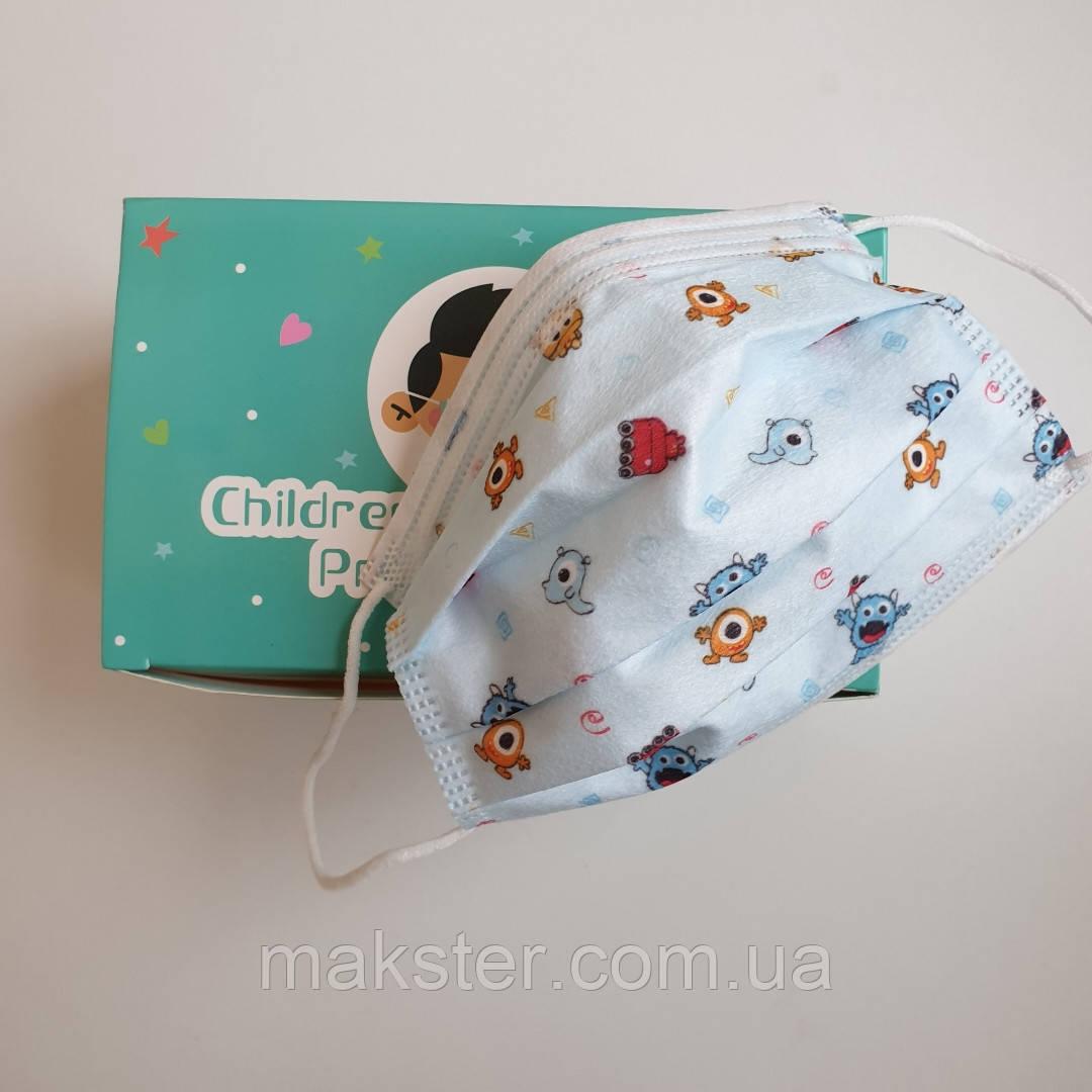 Одноразовые детские маски с рисунком, 50 шт в уп