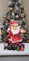 Новогодняя фигура игрушка под елку Санта Клаус с оленем 41 на 31 см