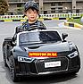 Дитячий електромобіль Ауді з шкіряним сидінням, Audi R8 Spyder чорний, фото 3