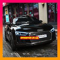 Детский электромобиль Ауди с кожаным сиденьем, Audi R8 Spyder черный