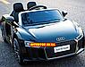Дитячий електромобіль Ауді з шкіряним сидінням, Audi R8 Spyder чорний, фото 4