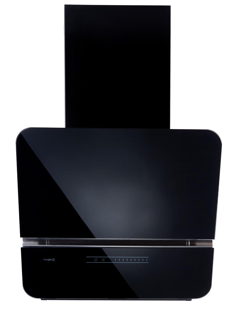 Вытяжка наклонная декоративная BORGIO RNT-LX 60 black SU (1300 м/куб) (черное стекло)