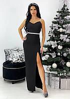 Длинное черное вечернее платье на бретельках, фото 1