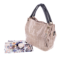 Жіноча сумка Realer P008 бежева, фото 1