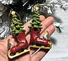 Елочные новогодние украшения Коньки, 8 см, 2 вида