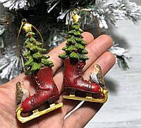 Елочные новогодние украшения Коньки, 8 см, 2 вида, фото 1