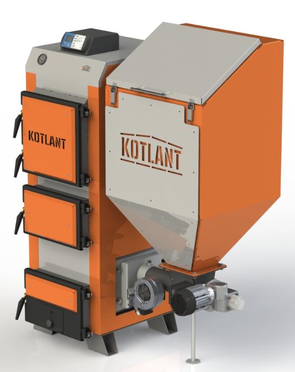 Пеллетный бытовой котел с бункером Kotlant КГП 50 кВт с автоматикой и вентилятором