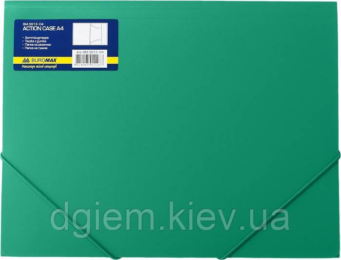 Папка на резинках А4 BUROMAX пластиковая зеленая