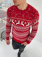 Мужской свитер с оленями снежинка красный