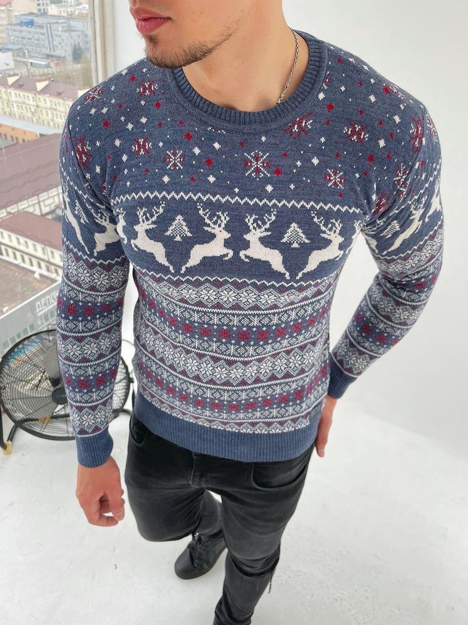 Чоловічий светр з оленями сніжинка сірий