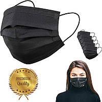 Медицинские маски SMS черные с фиксатором для носа, премиум качество (50 шт)