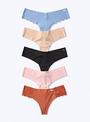 Безшовні Трусики Стрінги Victoria's Secret PINK No Show Thongs, Набір 5 шт