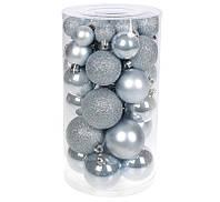 Новорічні ялинкові кулі, набір 40 шт, мікс розмірів і фактур